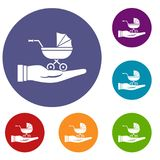 Baby pram protection icons set Royalty Free Stock Photography