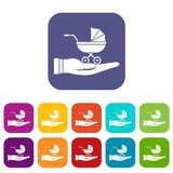 Baby pram protection icons set Stock Photo
