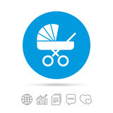 Baby pram stroller sign icon. Baby buggy symbol. Stock Image