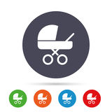 Baby pram stroller sign icon. Baby buggy symbol. Stock Images