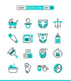 Baby, pregnancy, birth, toys and more. Plain and line icons set, flat design, vector illustration Royalty Free Stock Photography