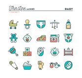 Baby, pregnancy, birth, toys and more, thin line color icons set. Vector illustration Stock Photo