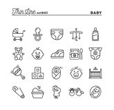 Baby, pregnancy, birth, toys and more, thin line icons set. Vector illustration Stock Images