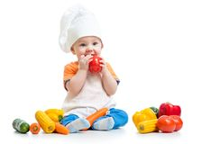 Baby preparing healthy food isolated Royalty Free Stock Image