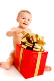 Baby with present Royalty Free Stock Image