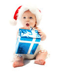 Baby with present Stock Photos