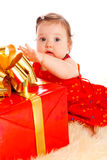 Baby with present box Royalty Free Stock Photo