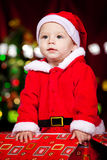 Baby in a present box Stock Photo