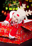 Baby in a present box Royalty Free Stock Photo