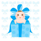 Baby on the present box Stock Photo