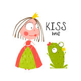 Baby Princess and Frog Asking for Kiss. Kids love story cute and fun colored illustration Royalty Free Stock Images