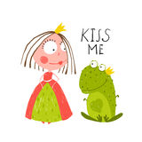 Baby Princess and Frog Asking for Kiss Stock Image