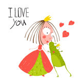 Baby Princess and Prince Frog Kissing. Kids love story cute and fun hand drawn colored illustration Stock Images
