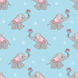 Baby print with cute elephants and flowers Royalty Free Stock Photography