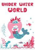 Baby print with mermaid vector illustration