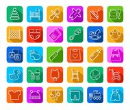 Baby products, contour icons, colored, flat. Royalty Free Stock Photos