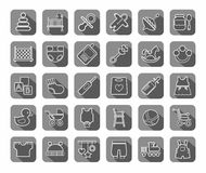 Baby products, contour icons, gray. Stock Photography