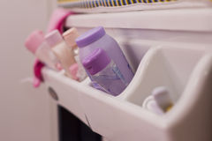 Baby products in shelf Stock Image