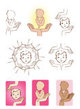 Baby protected by hands icons logo elements. Vector set of baby protected by hands Stock Images