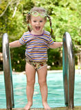Baby in protective goggles leaves pool. Royalty Free Stock Image