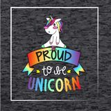 Proud to be unicorn, rainbow text and ribbon with cute unicorn on top. Baby and proud unicorn sitted on rainbow ribbon with proud to be unicorn inscription vector illustration