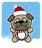 Baby Pughund mit Weihnachtsmann-Rothut Stockfotos