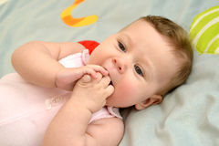 The baby pulls hands in a mouth. Portrait Royalty Free Stock Photos