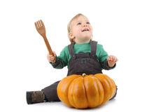 Baby and pumpkin Royalty Free Stock Photos