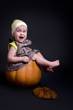 Baby in Pumpkin Stock Image