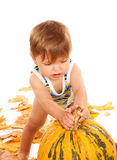 Baby and pumpkin Royalty Free Stock Photography