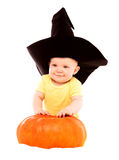 Baby with a pumpkin Royalty Free Stock Images