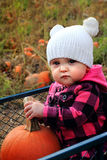 Baby in pumpkin patch wagon Royalty Free Stock Photo