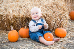 Baby with pumpkins Stock Image