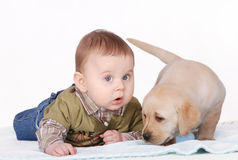 Baby and puppy. Baby and little labrador retriever puppy royalty free stock photos