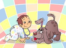A baby and a puppy. A cute baby kneeling and a puppy looking at it lovingly vector illustration