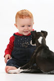 Baby and puppy. Baby girl playing with a puppy on white background royalty free stock images