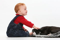 Baby and puppy Stock Image