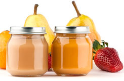 Baby puree and fruits Stock Image
