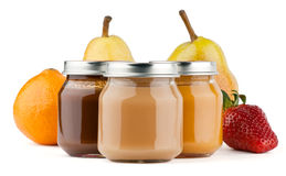 Baby puree with fruits Royalty Free Stock Image