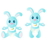 Baby rabbit. 2 blue baby rabbits in pampers for your design. JPEG and EPS Stock Photos