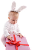 Baby in rabbit costume Royalty Free Stock Photography