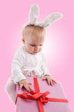 Baby in rabbit costume Stock Photos
