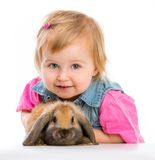 Baby with rabbit Stock Photo