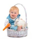 Baby with rabbit Stock Photo