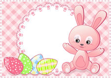 Baby rabbit and eggs. Easter card. Stock Image