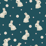 Baby rabbit floral seamless wallpaper Stock Photos