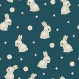 Baby rabbit floral seamless wallpaper Stock Photos
