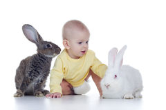 Baby and rabbits. Little baby girl playing with two rabbits Royalty Free Stock Photos