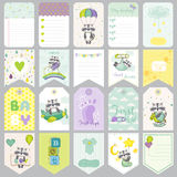 Baby Raccoon Tags. Baby Banners. Scrapbook Labels. Cute Cards Royalty Free Stock Images