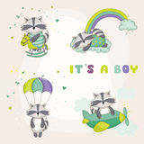 Baby Racoon Set - Baby Shower or Arrival Card Stock Photos
